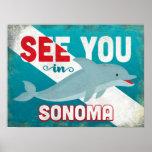 Sonoma Dolphin - Retro Vintage Travel Poster