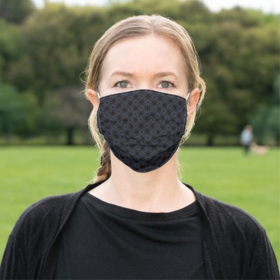 Sophisticated Blue on Black Geo Lattice Pattern Cloth Face Mask
