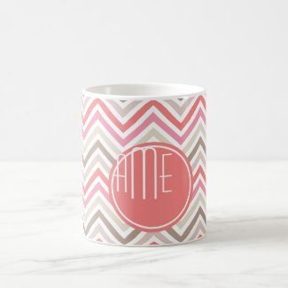 Sorbet Chevrons with Triple Monograms Mugs