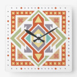 Southwestern Tribal Native Geometric Pattern Square Wallclock