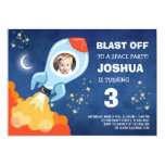 Cool Space Rocket Birthday Party Invitation
