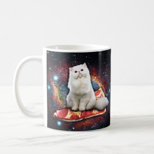 Space cat pizza coffee mug