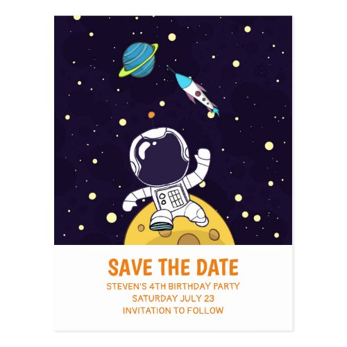 Spaceman Exploring Outer Space Save the Date Postcard