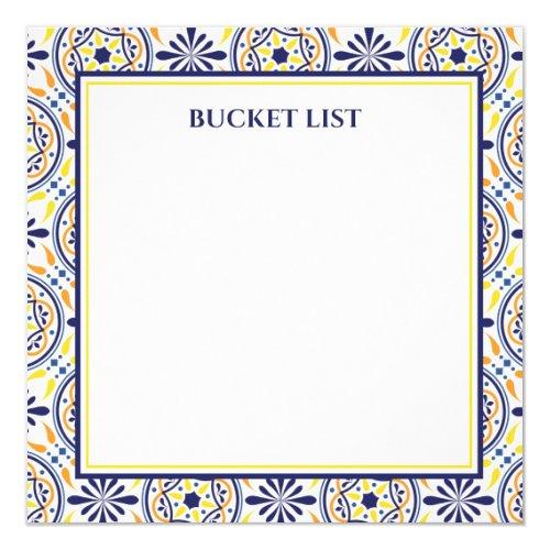 Spanish Navy Yellow Tile Mediterranean Bucket List Invitation