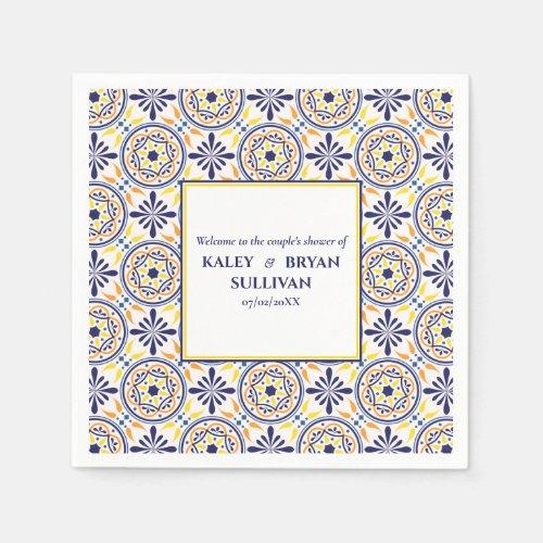 Spanish Navy Yellow Tile mediterranean wedding V1 Napkin