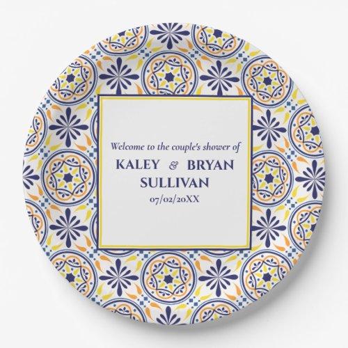 Spanish Navy Yellow Tile mediterranean wedding V3 Paper Plate