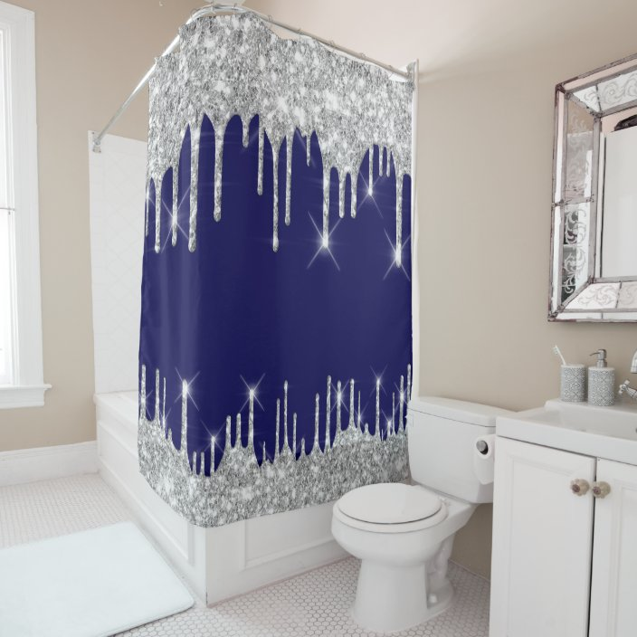 spark drips glitter effect blue navy silver gray shower curtain zazzle com