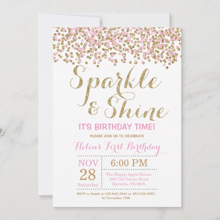 sparkle and shine pink gold birthday invitation zazzle com