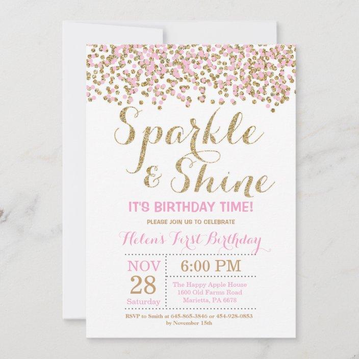 sparkle and shine pink gold birthday invitation zazzle com