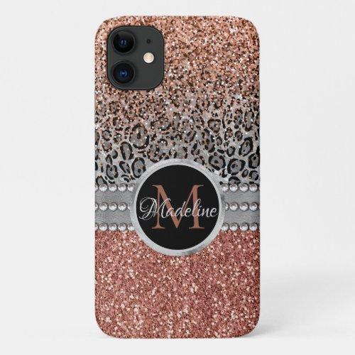 Sparkling Girly Rose Gold Glitter Leopard Monogram iPhone 11 Case