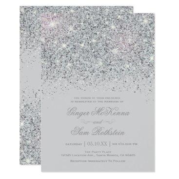 Sparkling Silver Glitter Wedding Invitations