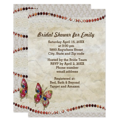 Sparkly Butterfly, Lace & Parchment Bridal Shower Invitation