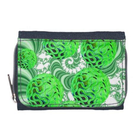Spearmint Swirl, Abstract Green Lime Pattern Wallet