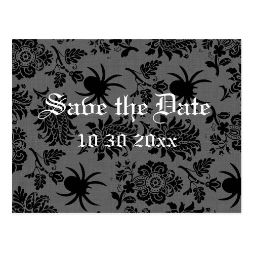 Spider Damask on Gray Linen Save the Date Postcard