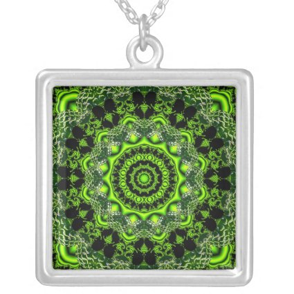 Spider Dance, Abstract Green Gray Web Necklaces
