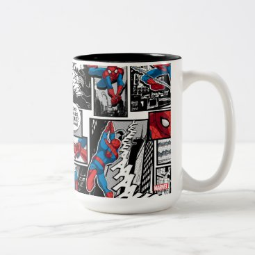 Spider-Man Comic Panel Pattern Two-Tone Coffee Mug