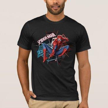 Spider-Man in Fractured Web Graphic T-Shirt