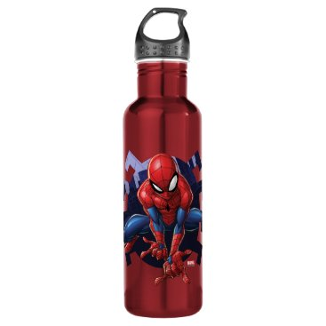 Spider-Man Leaping Out Of Spider Graphic Stainless Steel Water Bottle