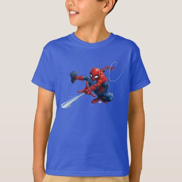 Spider-Man Web Slinging By Train T-Shirt