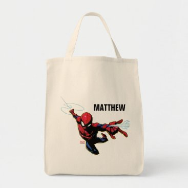 Spider-Man Web Slinging From Above Tote Bag