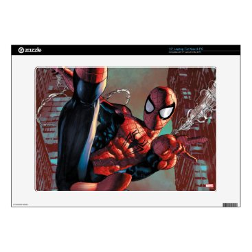 """Spider-Man Web Slinging In City Marker Drawing Decals For 15"""" Laptops"""