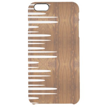 Spiked Stacked White Lines wood look Clear iPhone 6 Plus Case