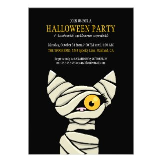 Spooky Mummy Cat Halloween Party Invitations