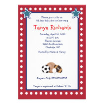 all sports red border baby shower invite