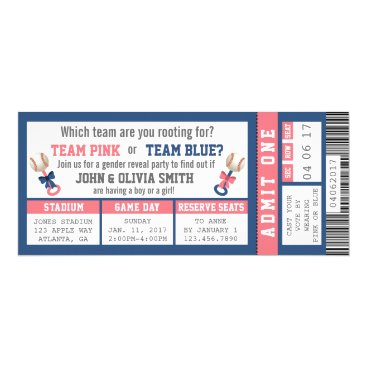 Sports Ticket Gender Reveal Invitation, Baseball Invitation