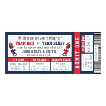 Sports Ticket Gender Reveal Invitation, Football Card