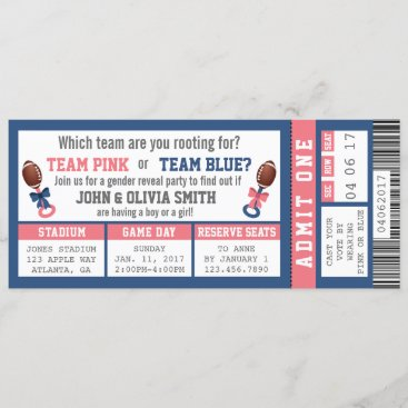 Sports Ticket Gender Reveal Invitation, Football Invitation
