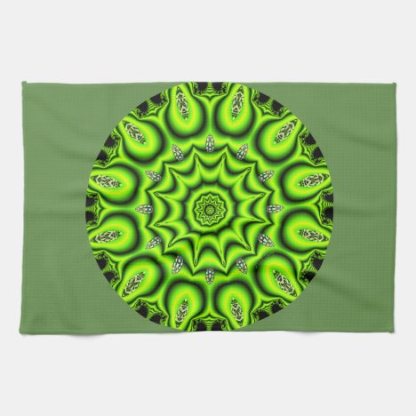 Spring Garden Mandala, Bright Abstract Lime Hand Towel