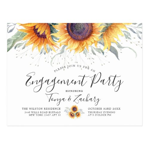 Spring Sunflower Bloom | Engagement Party Invite
