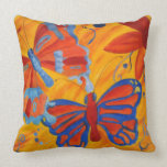 Springtime Abstract Monarch Butterfly Throw Pillow