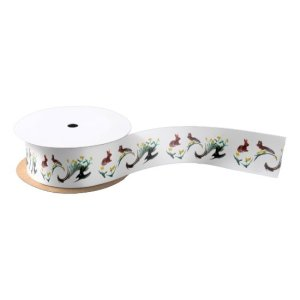 Springtime Flowers and Rabbits Art Satin Ribbon