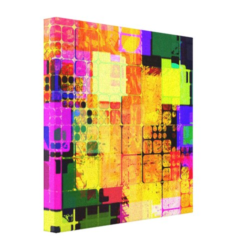 Square Geometric Multicolored Abstract Canvas Print
