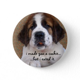 St Bernard Puppy Cookie button