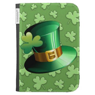 St Patrick Paddy Hat and Shamrock Kindle Case