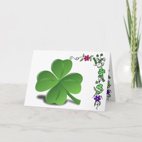St. Patrick's Day Shamrock Clover Card
