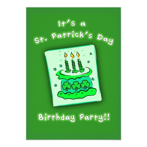 St Patricks Day Birthday Party Custom Invitations