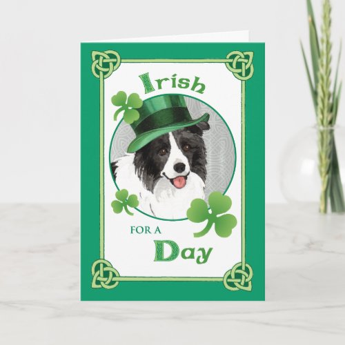 St. Patrick's Day Border Collie Card
