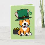 St. Patrick's Day Corgi Leprechaun Dog Puppy Doggy Card