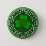 St Patrick's Day Green Shamrock Button