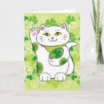 St. Patrick's Day Maneki Neko (Lucky Cat) Card