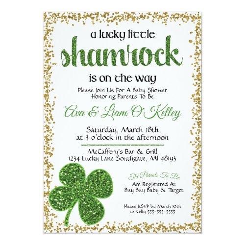 St. Patrick's Day Shamrock Baby Shower Invitation