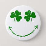 St Patrick's Day Shamrock face humor Pinback Button