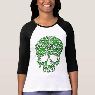 St Patricks Day Shamrocks Skull Tshirt