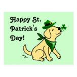 St. Patrick's Day Yellow Labrador Postcard