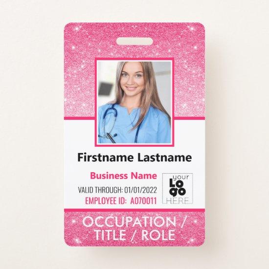 Staff Photo ID Barcode Logo Hot Pink Glitter Name Badge