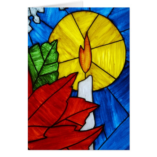 Stained Glass Candle Christmas Card